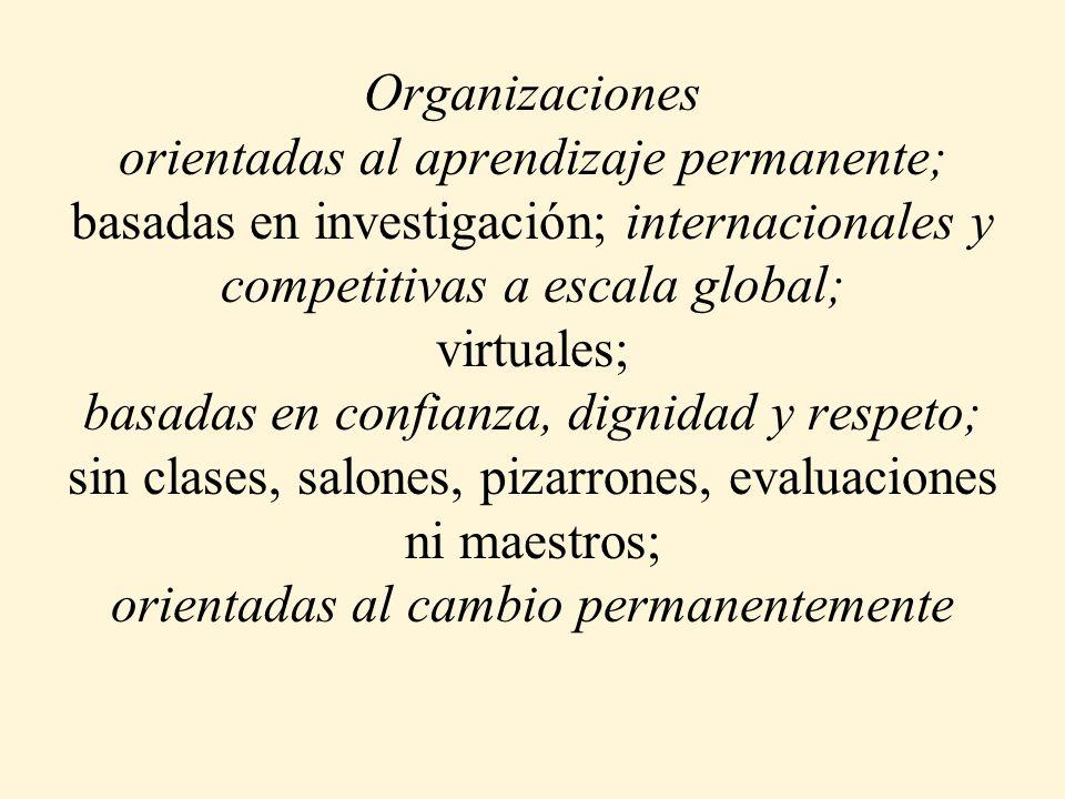 Organizaciones orientadas al aprendizaje permanente ; basadas en investigación ; internacionales y competitivas a escala global; virtuales Ubicuas basadas en confianza, dignidad y respeto; sin clases, salones, pizarrones, evaluaciones ni maestros; orientadas al cambio permanentemente Sin distancia Basado en flujos Masivos de Informacion que Aprenden