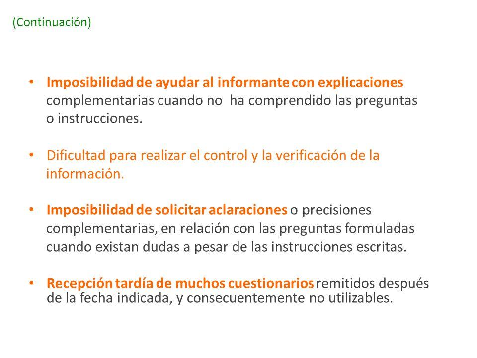 (Continuación) Imposibilidad de ayudar al informante con explicaciones complementarias cuando no ha comprendido las preguntas o instrucciones. Dificul
