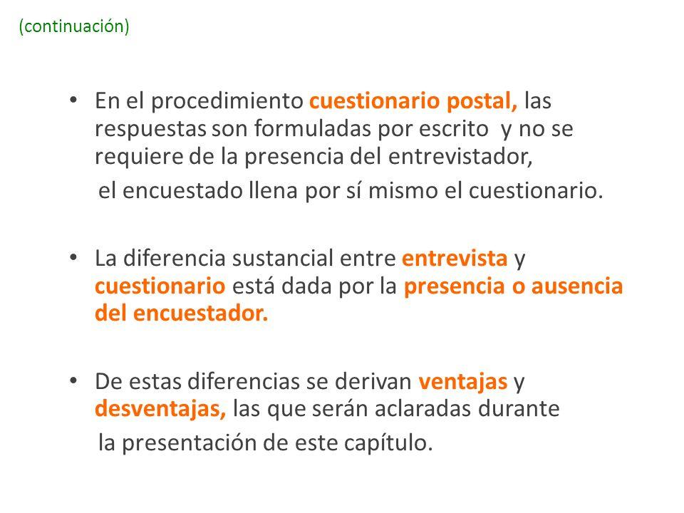 (continuación) En el procedimiento cuestionario postal, las respuestas son formuladas por escrito y no se requiere de la presencia del entrevistador,