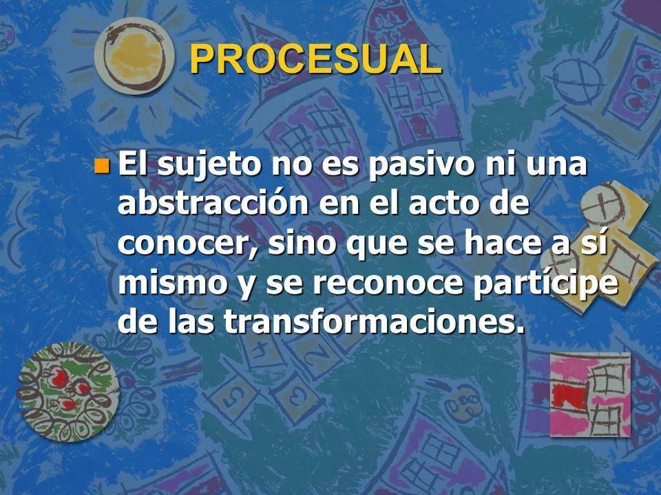 PROCESUAL n Sólo el modo procesual puede permitir conocer cabalmente.