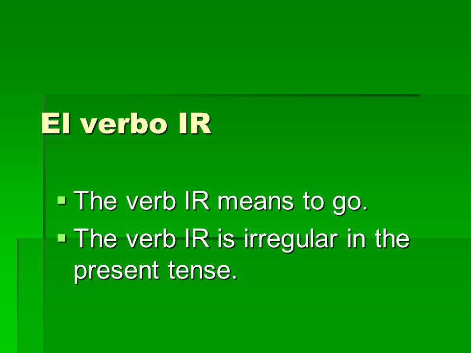 El verbo IR Yo voy Tú vas Ud./él/ella va Nosotros vamos Vosotros vais Uds/ellos/ellas van