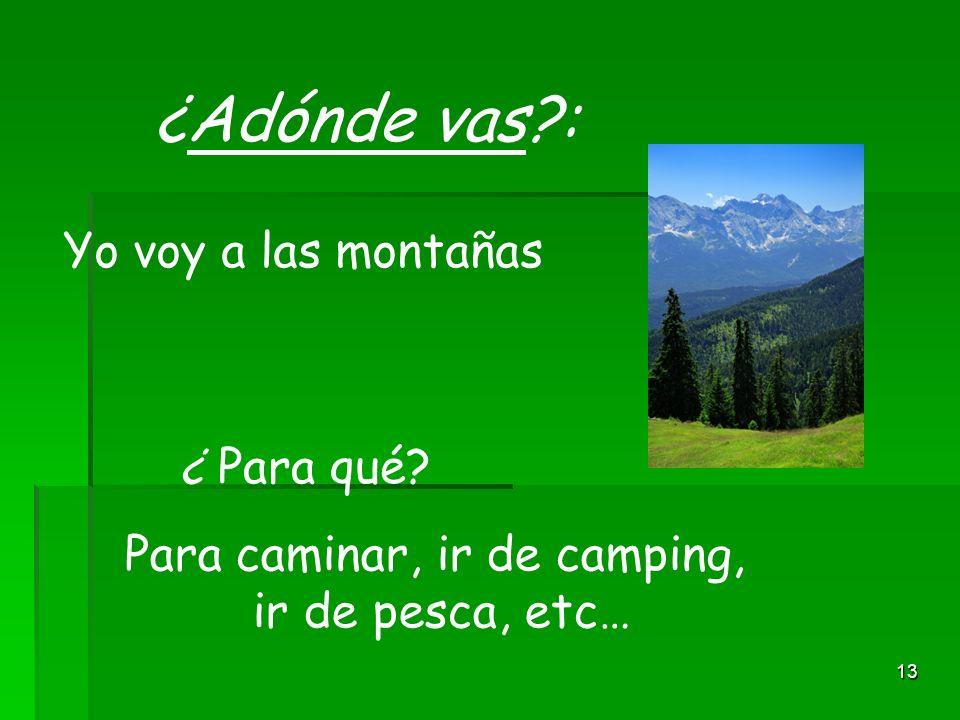 13 ¿Adónde vas?: Yo voy a las montañas ¿ Para qué? Para caminar, ir de camping, ir de pesca, etc…