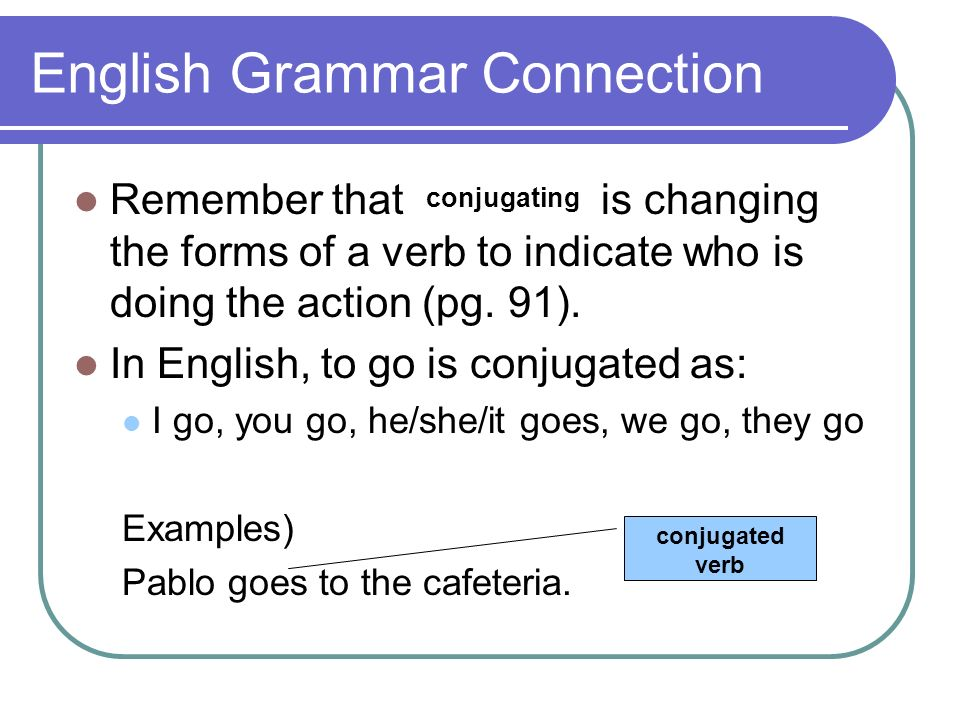 English Grammar Connection Remember that is changing the forms of a verb to indicate who is doing the action (pg. 91). In English, to go is conjugated