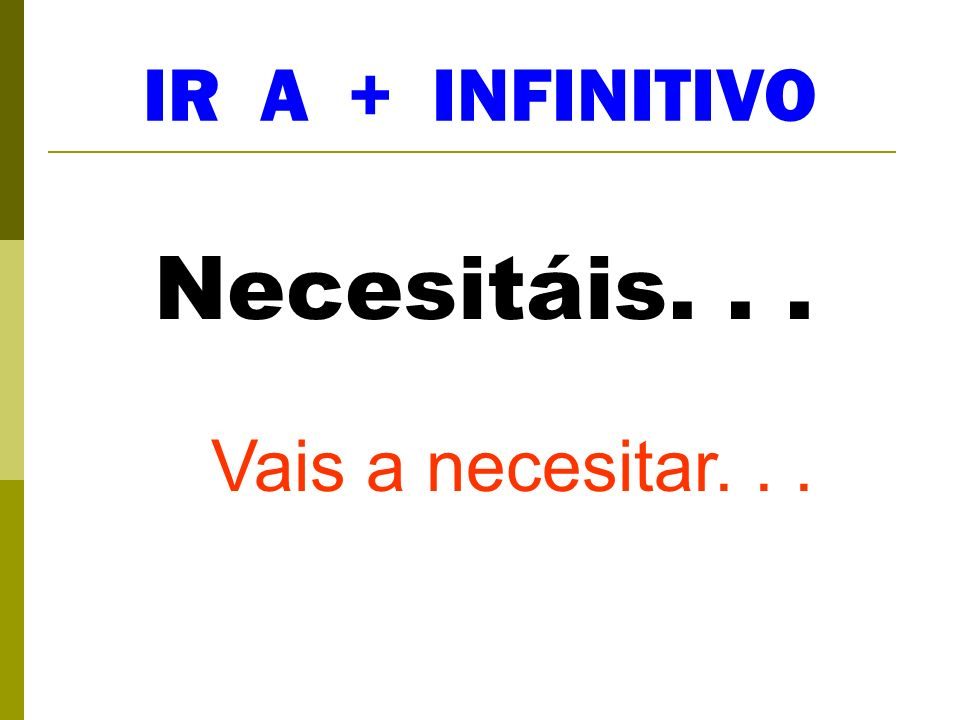 IR A + INFINITIVO Necesitáis... Vais a necesitar...