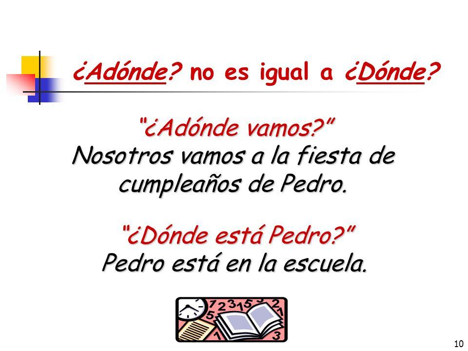 9 ¿Adónde vamos ? ¿Adónde + ir? Adónde is a question-asking word that indicates to where we are going. ¿Adónde + vamos mañana ? (To) Where are we goin
