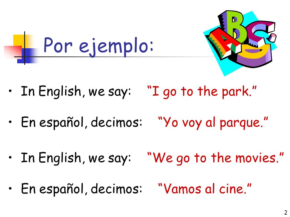 2 Por ejemplo: In English, we say: I go to the park.