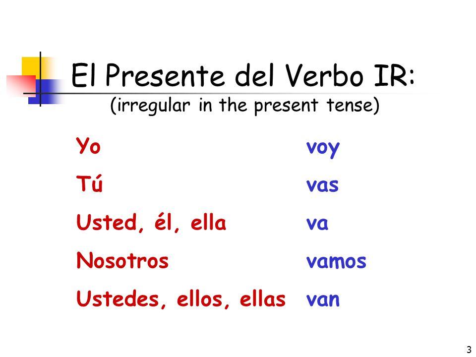 2 El Verbo IR Apuntes de IR: IR es el infinitivo No hay una raíz En español IR significa to go It has many uses: a. Destination = where someone is goi