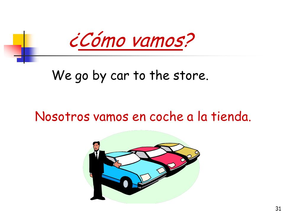 30 II. Ir for transportation ¿Cómo vamos? (How do we get there?) Ir + en + mode of transportation: Yo voy en coche = I go by car taxi = by taxi autobu