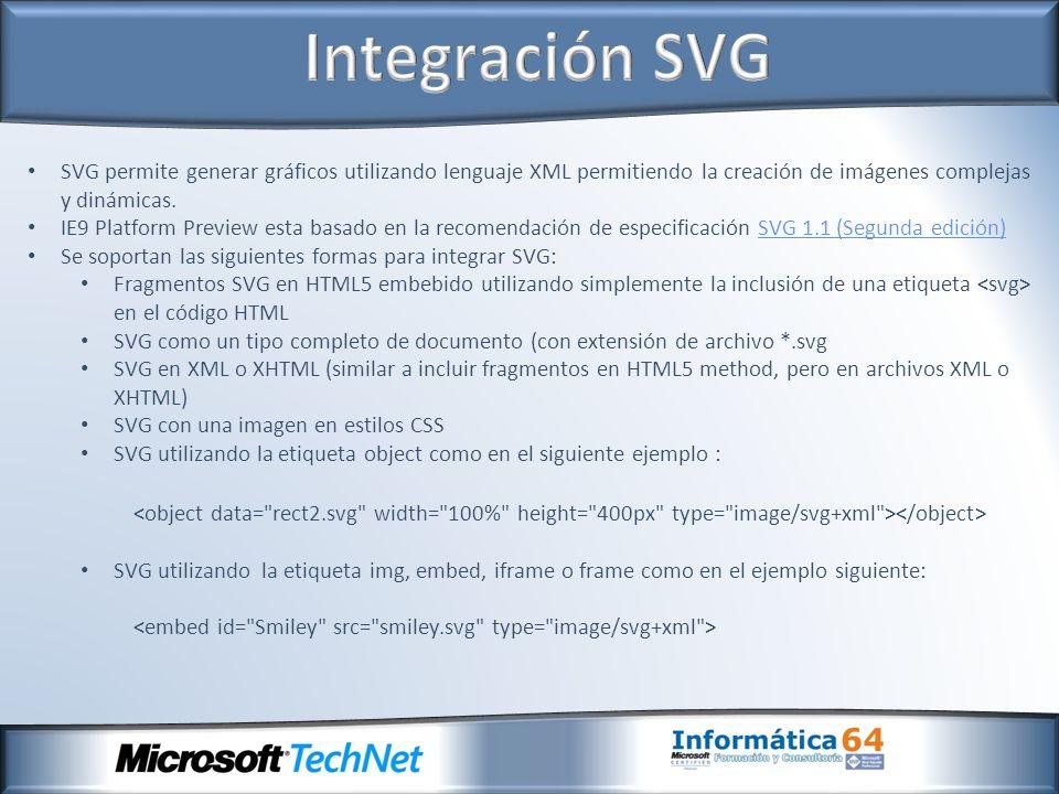 SVG permite generar gráficos utilizando lenguaje XML permitiendo la creación de imágenes complejas y dinámicas.