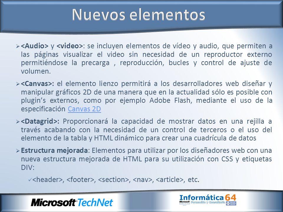 y : se incluyen elementos de vídeo y audio, que permiten a las páginas visualizar el video sin necesidad de un reproductor externo permitiéndose la precarga, reproducción, bucles y control de ajuste de volumen.