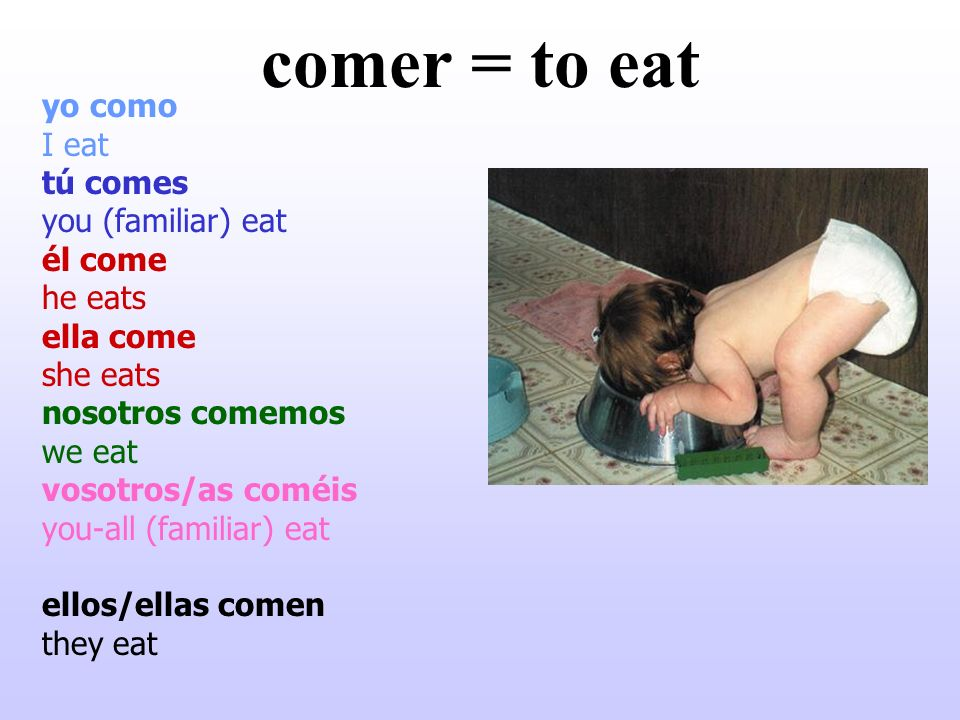 comer = to eat yo como I eat tú comes you (familiar) eat él come he eats ella come she eats nosotros comemos we eat vosotros/as coméis you-all (famili