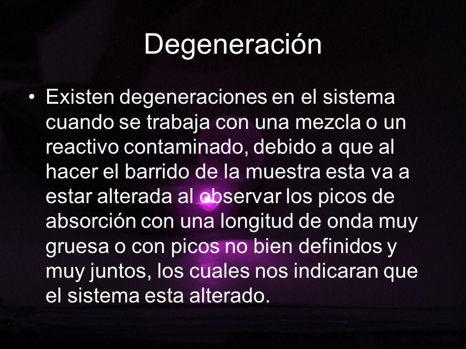 Degeneración Existen degeneraciones en el sistema cuando se trabaja con una mezcla o un reactivo contaminado, debido a que al hacer el barrido de la m