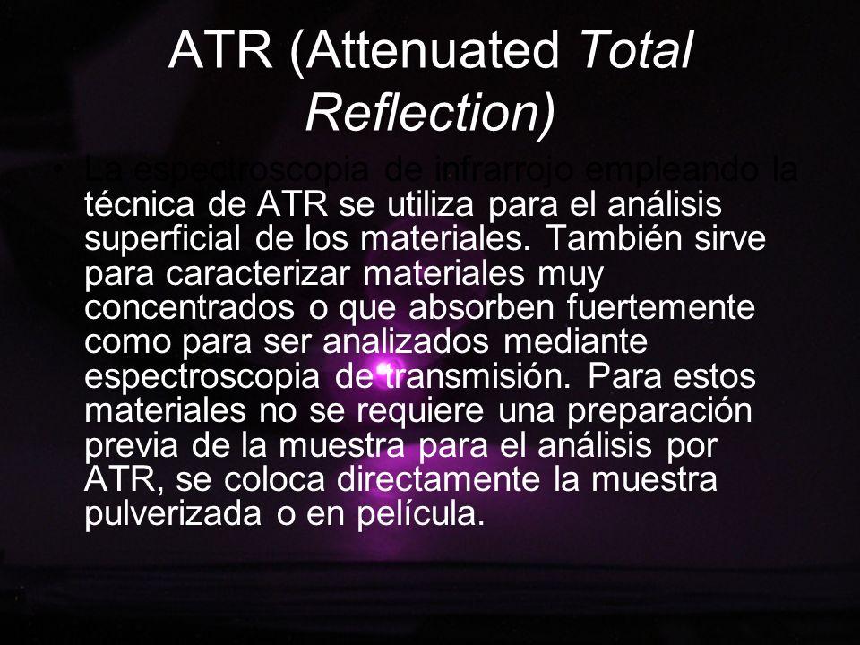 ATR (Attenuated Total Reflection) La espectroscopia de infrarrojo empleando la técnica de ATR se utiliza para el análisis superficial de los materiale