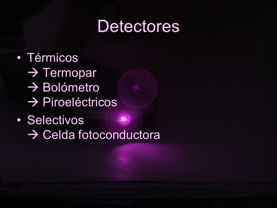 Detectores Térmicos Termopar Bolómetro Piroeléctricos Selectivos Celda fotoconductora