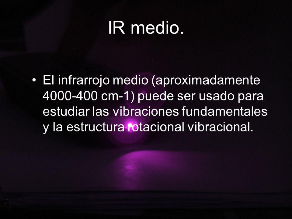 IR medio. El infrarrojo medio (aproximadamente 4000-400 cm-1) puede ser usado para estudiar las vibraciones fundamentales y la estructura rotacional v