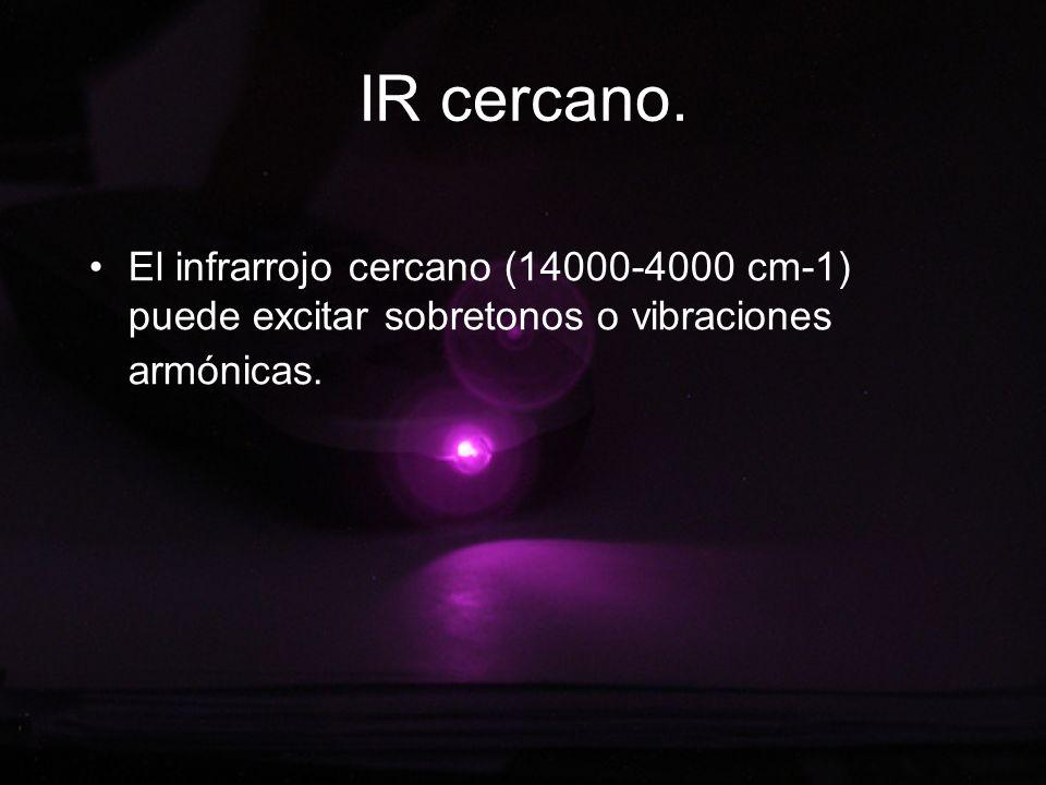 IR cercano. El infrarrojo cercano (14000-4000 cm-1) puede excitar sobretonos o vibraciones armónicas.