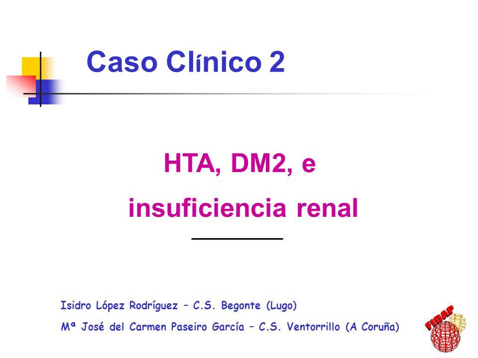 HTA, DM2, e insuficiencia renal Isidro López Rodríguez – C.S. Begonte (Lugo) Mª José del Carmen Paseiro García – C.S. Ventorrillo (A Coruña) Caso Cl í