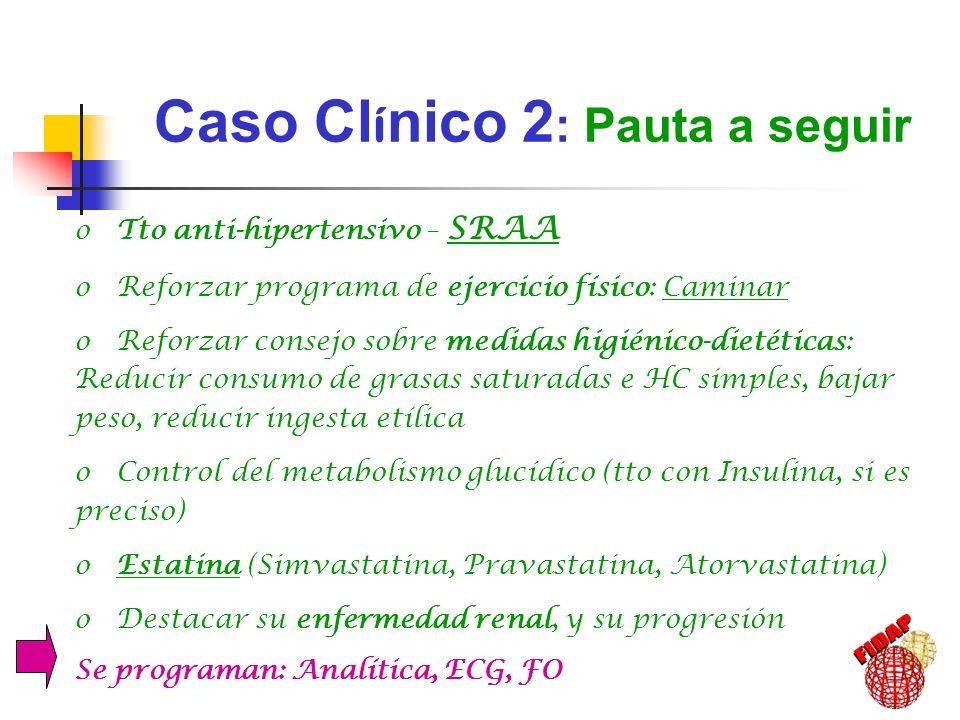 Caso Cl í nico 2 : Pauta a seguir o Tto anti-hipertensivo – SRAA o Reforzar programa de ejercicio físico: Caminar o Reforzar consejo sobre medidas hig