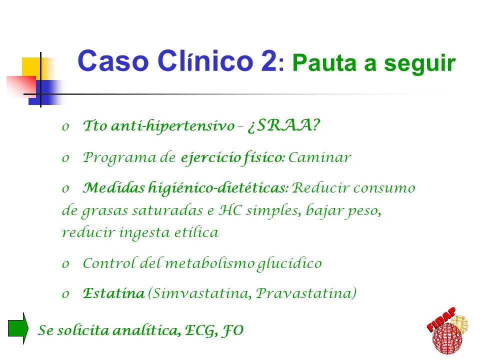Caso Cl í nico 2 : Evoluci ó n -2a (2000) 73 años de edad: IMC: 34 kg/m 2 (83 kg, 154 cms) Cifras de PA: 124 /80 Glucemia: 205 mg/dl HbA 1c : 11.9% Triglicéridos: 162 mg/dl Colesterol total: 255 mg/dl c-LDL: 181 mg/dl c-HDL: 42 mg/dl Creatinina: 1.97 mg/dl Microalbuminuria: 134 mg/L