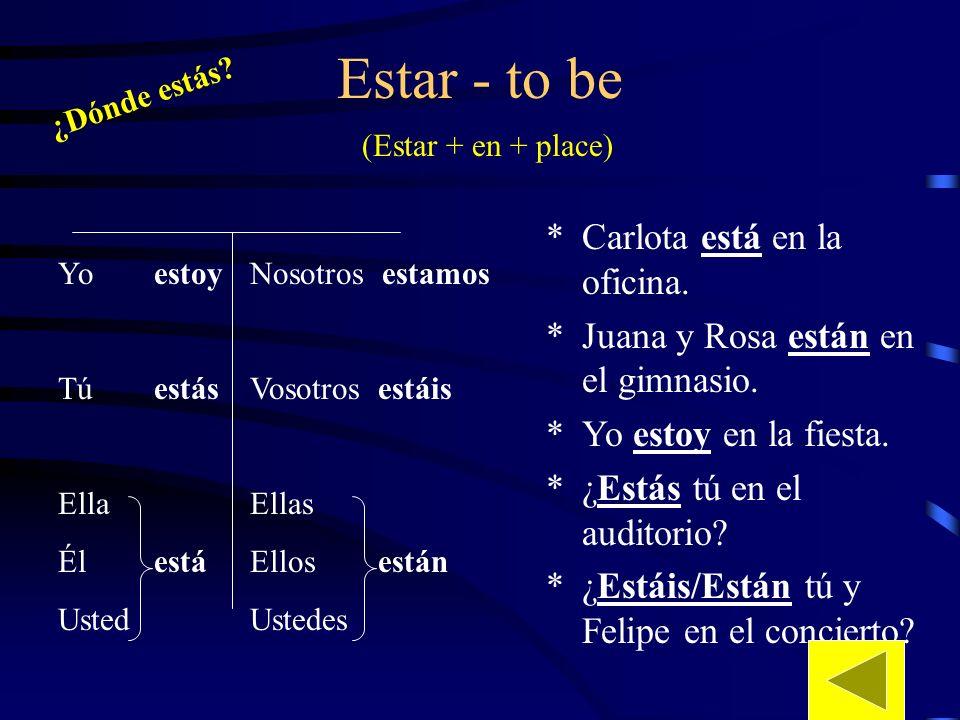 Práctica con estar y lugares (places) 1.Lola / library 2.