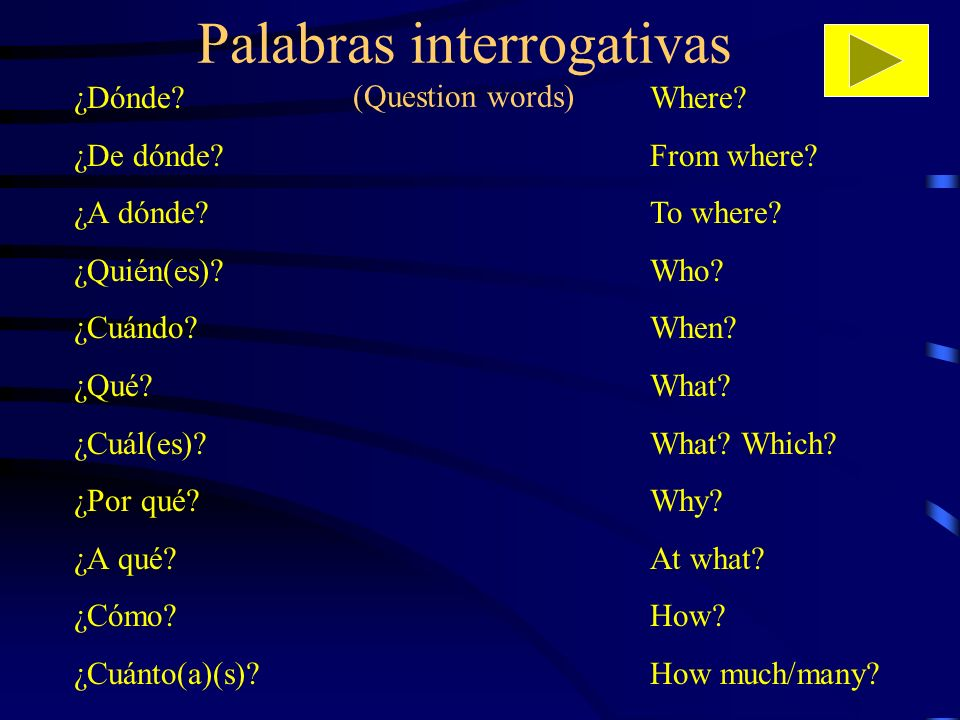 Palabras interrogativas (Question words) ¿Dónde? ¿De dónde? ¿A dónde? ¿Quién(es)? ¿Cuándo? ¿Qué? ¿Cuál(es)? ¿Por qué? ¿A qué? ¿Cómo? ¿Cuánto(a)(s)? Wh