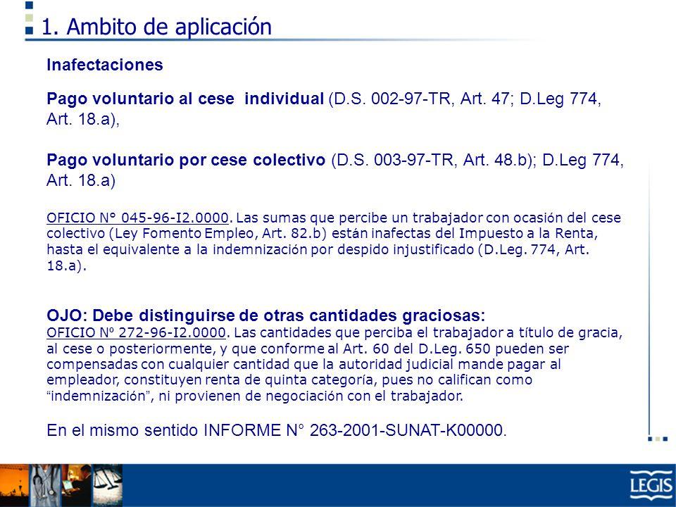 1. Ambito de aplicación Inafectaciones Pago voluntario al cese individual (D.S. 002-97-TR, Art. 47; D.Leg 774, Art. 18.a), Pago voluntario por cese co