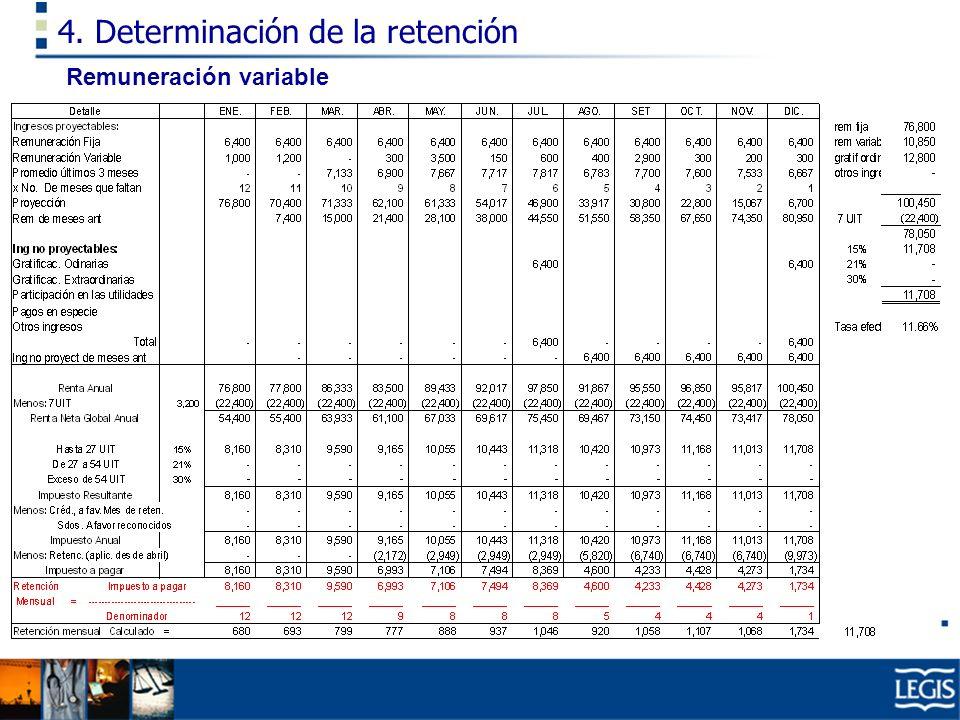4. Determinación de la retención Remuneración variable
