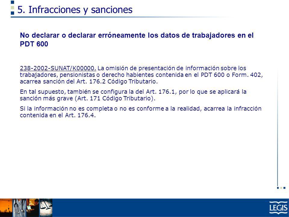 5. Infracciones y sanciones No declarar o declarar erróneamente los datos de trabajadores en el PDT 600 238-2002-SUNAT/K00000. La omisión de presentac