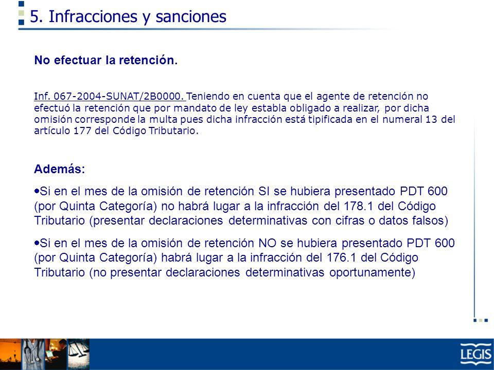 5. Infracciones y sanciones No efectuar la retención. Inf. 067-2004-SUNAT/2B0000. Teniendo en cuenta que el agente de retención no efectuó la retenció