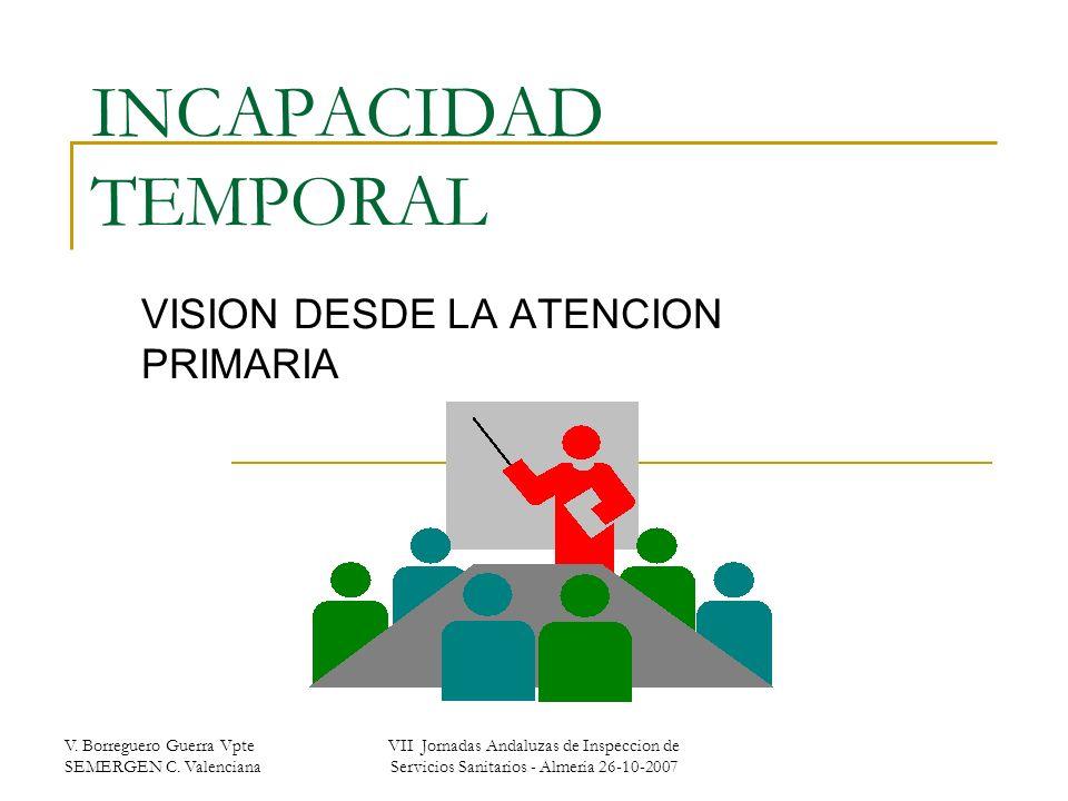 V. Borreguero Guerra Vpte SEMERGEN C. Valenciana VII Jornadas Andaluzas de Inspeccion de Servicios Sanitarios - Almeria 26-10-2007 INCAPACIDAD TEMPORA