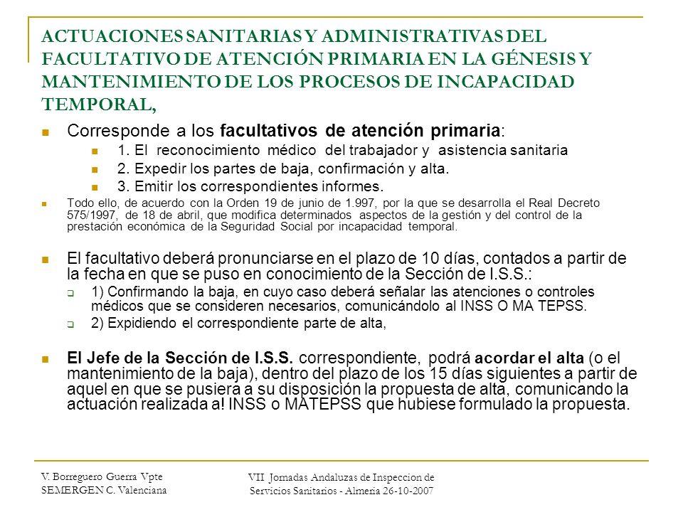V. Borreguero Guerra Vpte SEMERGEN C. Valenciana VII Jornadas Andaluzas de Inspeccion de Servicios Sanitarios - Almeria 26-10-2007 ACTUACIONES SANITAR
