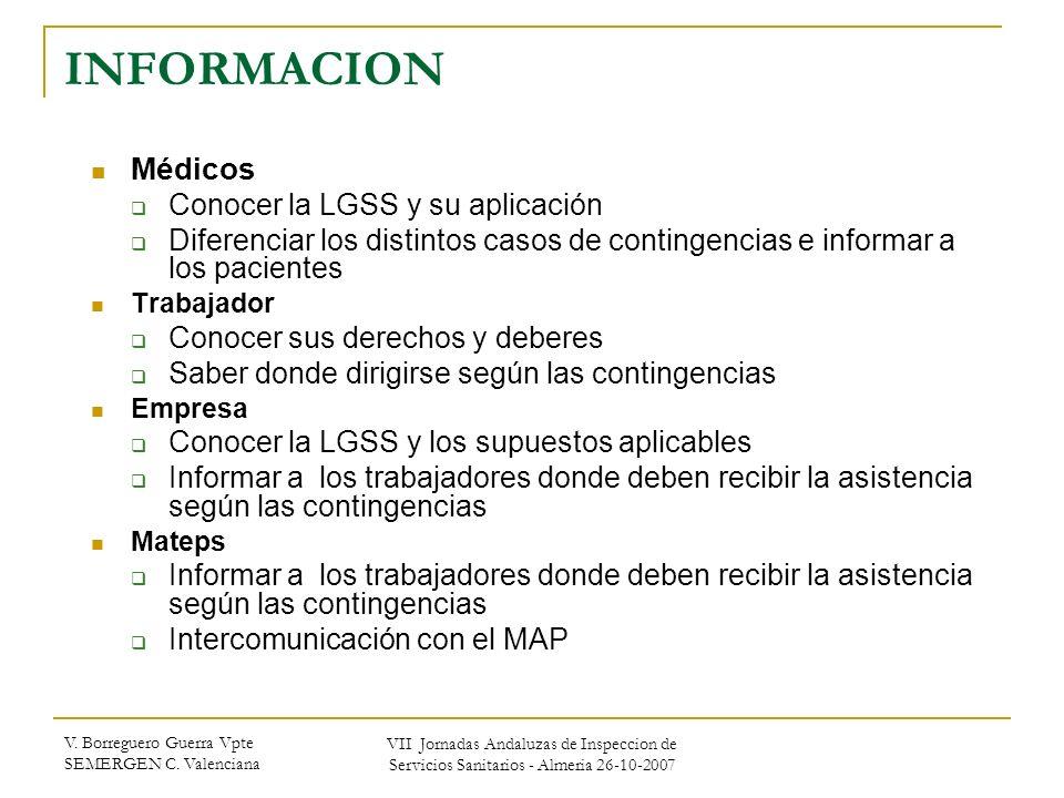 V. Borreguero Guerra Vpte SEMERGEN C. Valenciana VII Jornadas Andaluzas de Inspeccion de Servicios Sanitarios - Almeria 26-10-2007 INFORMACION Médicos