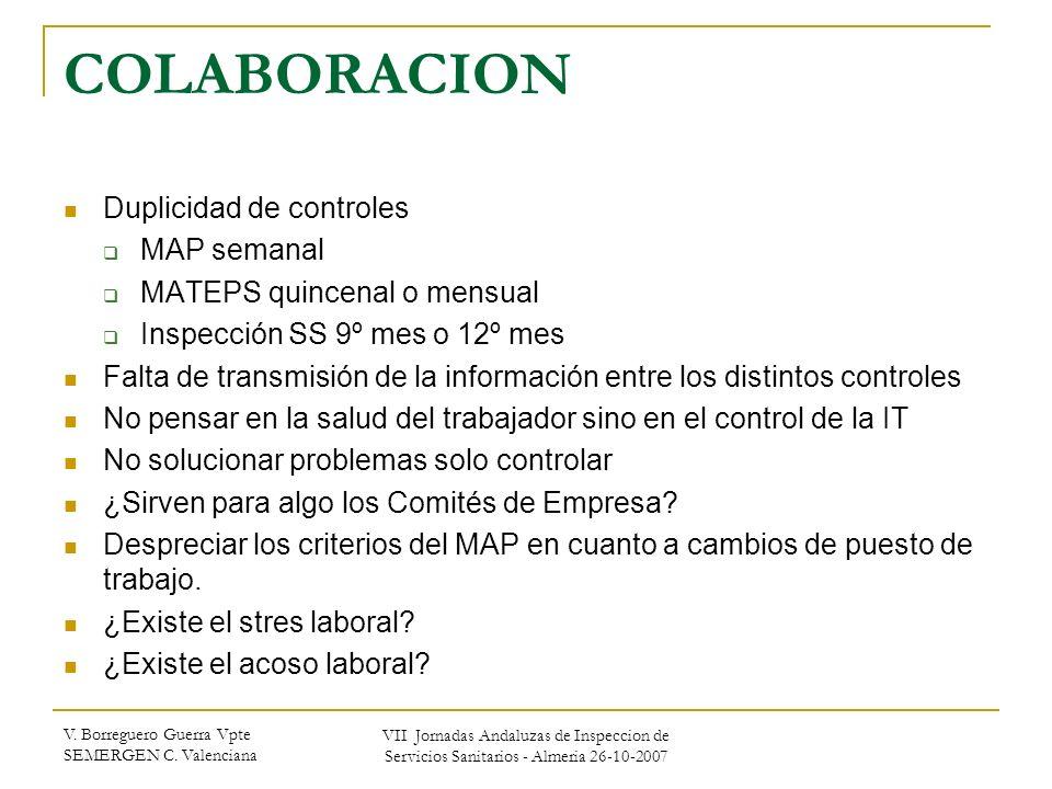V. Borreguero Guerra Vpte SEMERGEN C. Valenciana VII Jornadas Andaluzas de Inspeccion de Servicios Sanitarios - Almeria 26-10-2007 COLABORACION Duplic