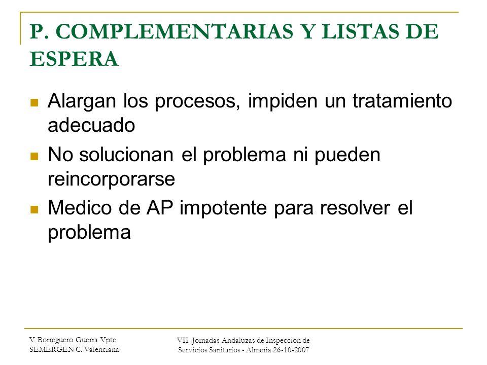 V. Borreguero Guerra Vpte SEMERGEN C. Valenciana VII Jornadas Andaluzas de Inspeccion de Servicios Sanitarios - Almeria 26-10-2007 P. COMPLEMENTARIAS