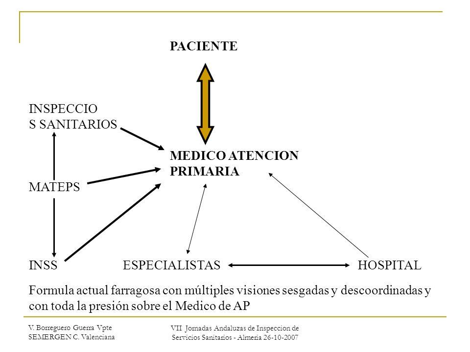 V. Borreguero Guerra Vpte SEMERGEN C. Valenciana VII Jornadas Andaluzas de Inspeccion de Servicios Sanitarios - Almeria 26-10-2007 PACIENTE INSPECCIO