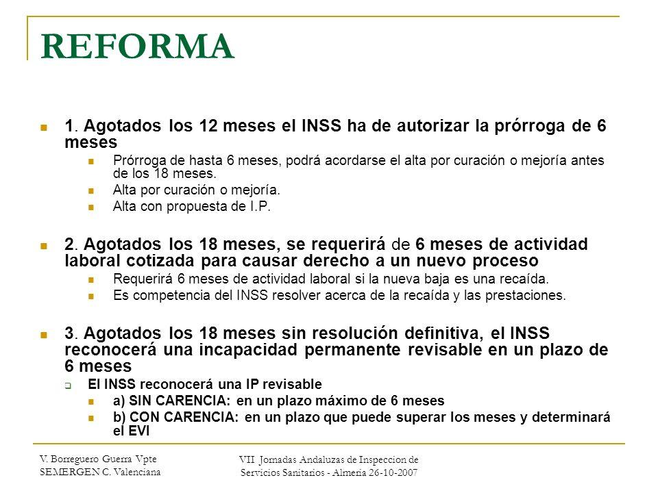 V. Borreguero Guerra Vpte SEMERGEN C. Valenciana VII Jornadas Andaluzas de Inspeccion de Servicios Sanitarios - Almeria 26-10-2007 REFORMA 1. Agotados
