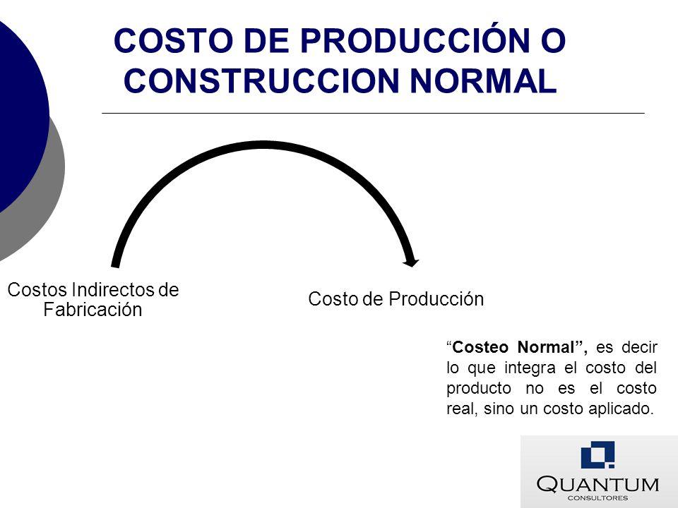 COSTO DE PRODUCCIÓN O CONSTRUCCION NORMAL Costo de Producción Costos Indirectos de Fabricación Costeo Normal, es decir lo que integra el costo del pro