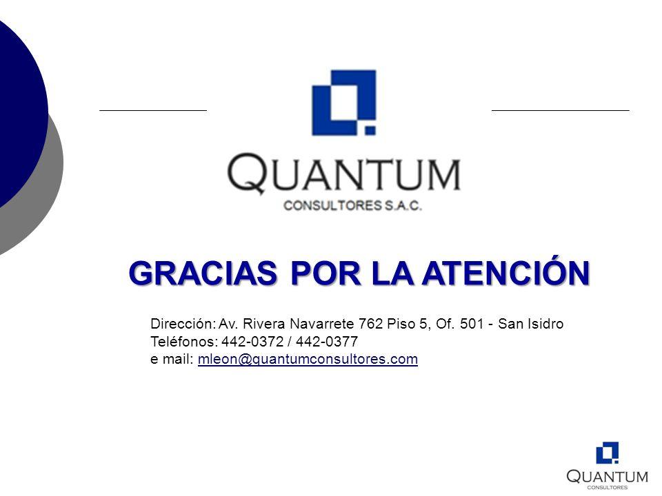 GRACIAS POR LA ATENCIÓN Dirección: Av. Rivera Navarrete 762 Piso 5, Of. 501 - San Isidro Teléfonos: 442-0372 / 442-0377 e mail: mleon@quantumconsultor