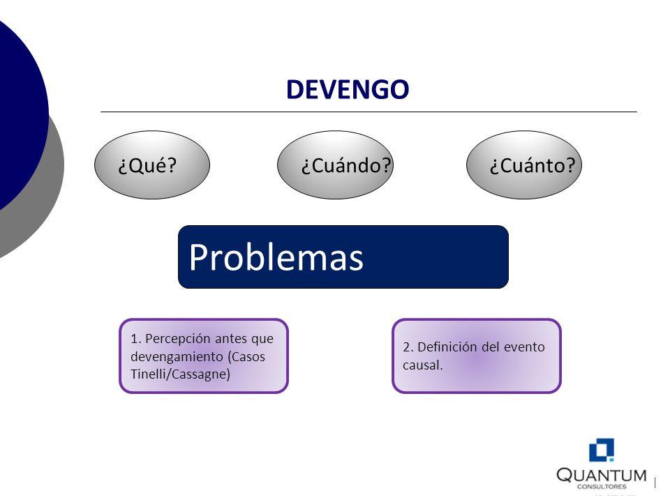DEVENGO ¿Qué?¿Cuándo?¿Cuánto? Problemas 1. Percepción antes que devengamiento (Casos Tinelli/Cassagne) 2. Definición del evento causal.