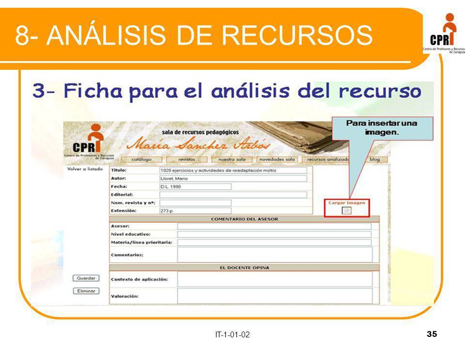 IT-1-01-02 35 8- ANÁLISIS DE RECURSOS