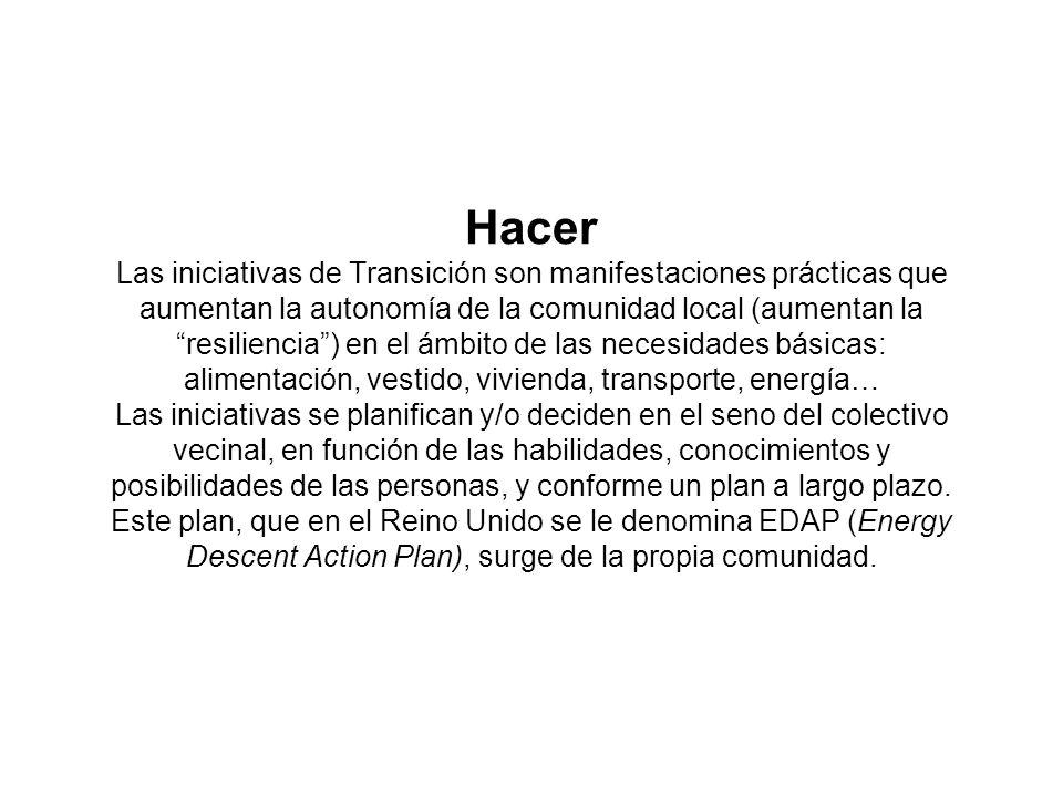 Hacer Las iniciativas de Transición son manifestaciones prácticas que aumentan la autonomía de la comunidad local (aumentan la resiliencia) en el ámbi