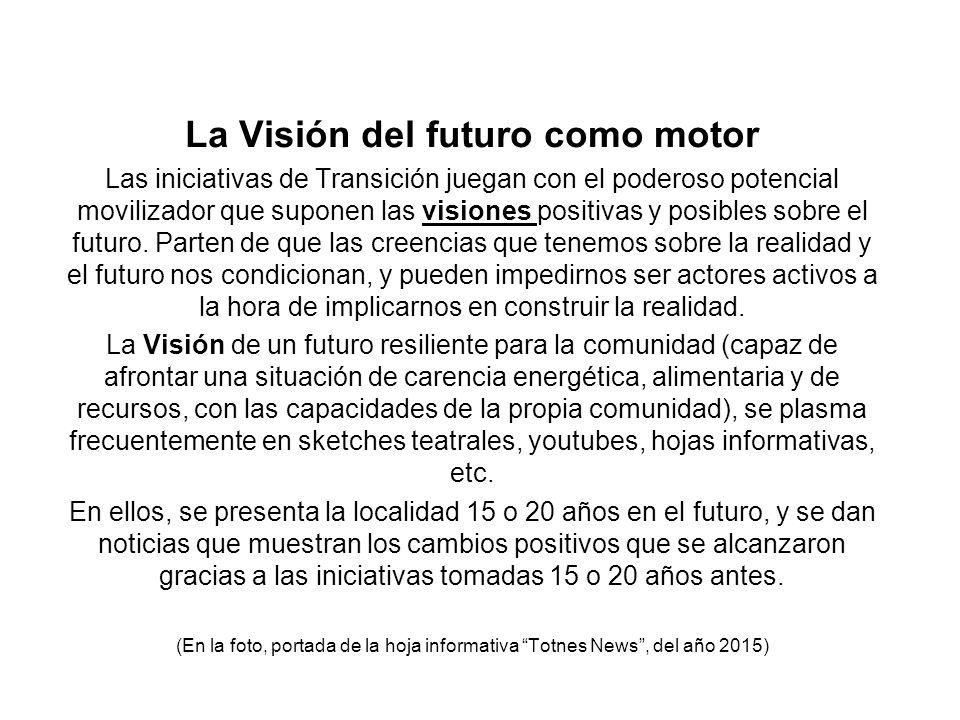 La Visión del futuro como motor Las iniciativas de Transición juegan con el poderoso potencial movilizador que suponen las visiones positivas y posibl