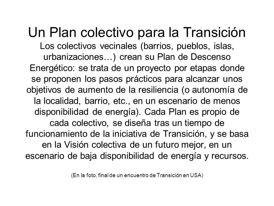 Un Plan colectivo para la Transición Los colectivos vecinales (barrios, pueblos, islas, urbanizaciones…) crean su Plan de Descenso Energético: se trat