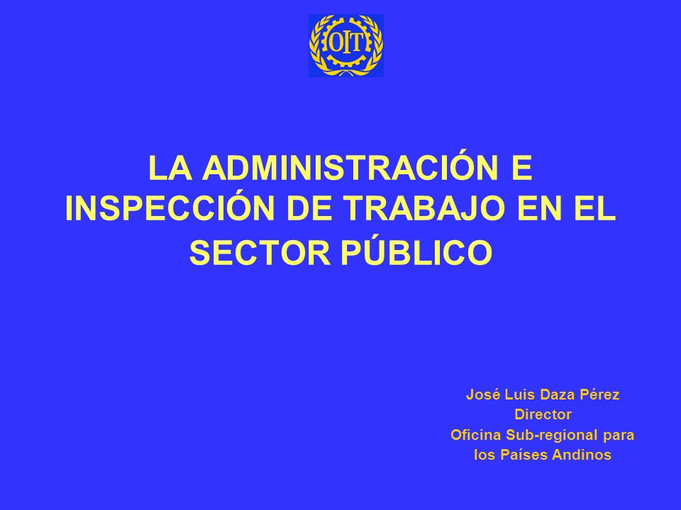 LA ADMINISTRACIÓN E INSPECCIÓN DE TRABAJO EN EL SECTOR PÚBLICO José Luis Daza Pérez Director Oficina Sub-regional para los Países Andinos