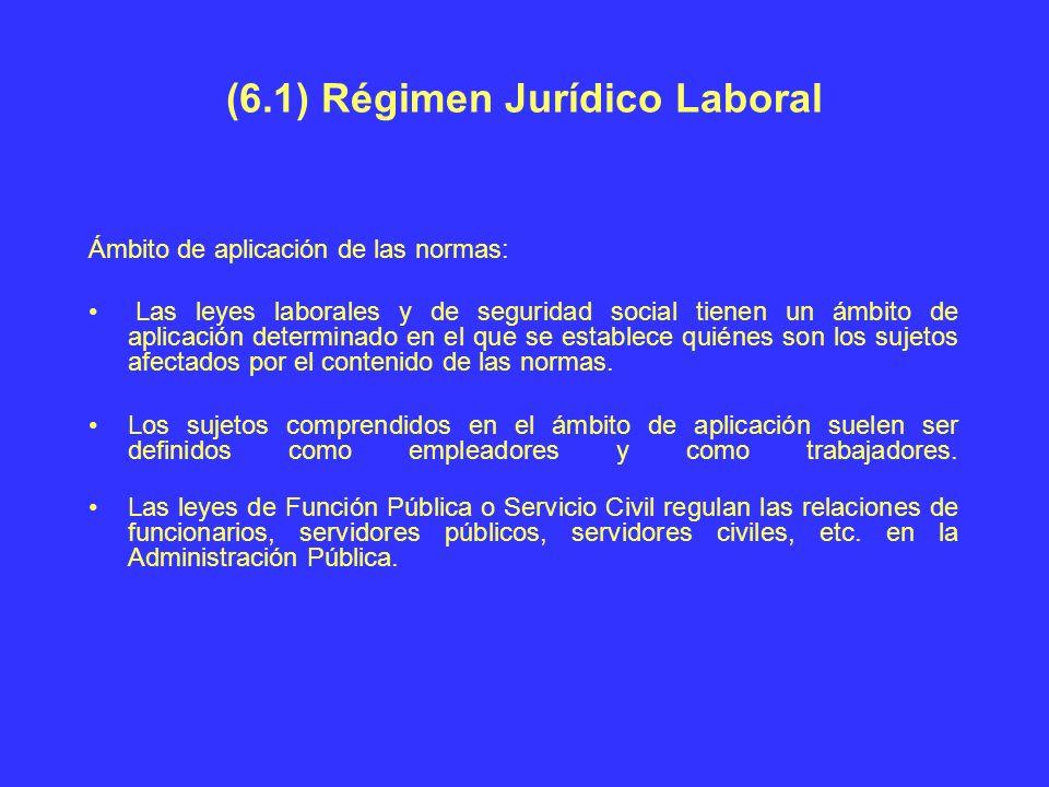 (6.1) Régimen Jurídico Laboral Ámbito de aplicación de las normas: Las leyes laborales y de seguridad social tienen un ámbito de aplicación determinad