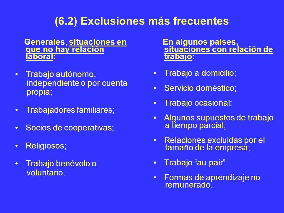 (6.2) Exclusiones más frecuentes Generales, situaciones en que no hay relación laboral: Trabajo autónomo, independiente o por cuenta propia; Trabajado