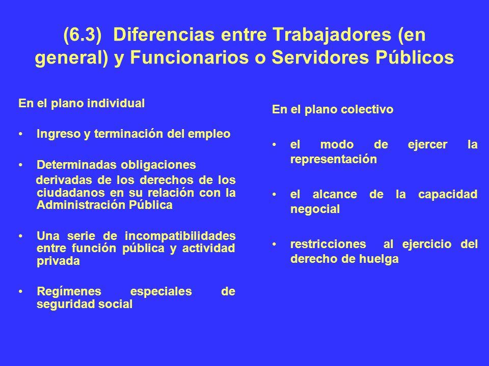 (6.3) Diferencias entre Trabajadores (en general) y Funcionarios o Servidores Públicos En el plano individual Ingreso y terminación del empleo Determi