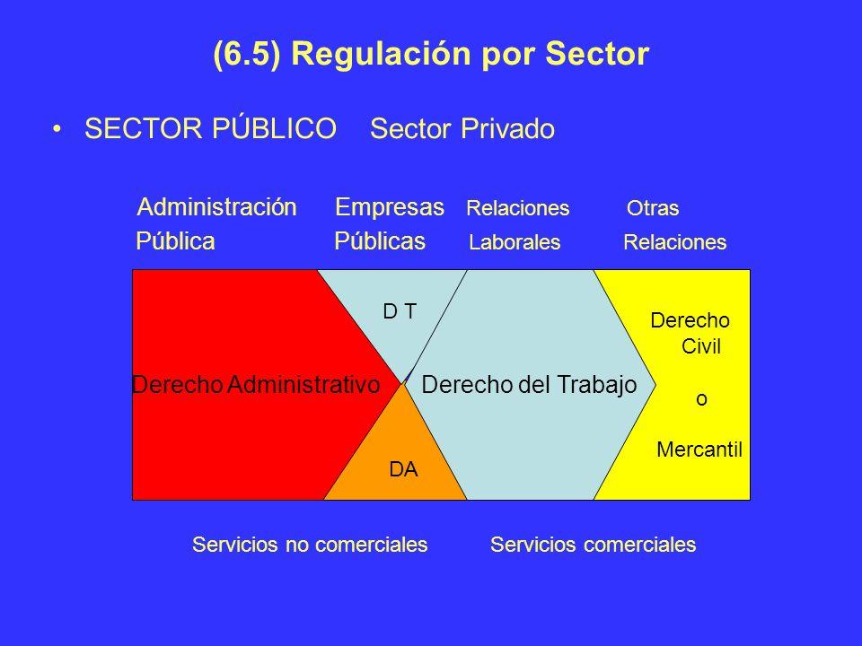 (6.5) Regulación por Sector SECTOR PÚBLICO Sector Privado Administración Empresas Relaciones Otras Pública Públicas Laborales Relaciones Derecho Admin