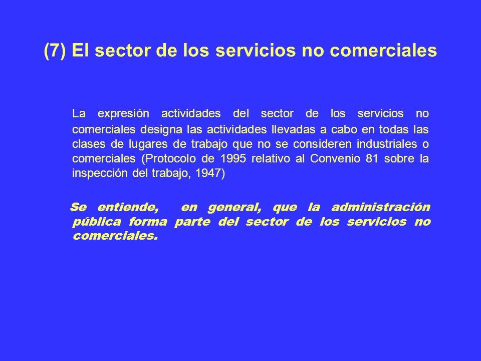 (7) El sector de los servicios no comerciales La expresión actividades del sector de los servicios no comerciales designa las actividades llevadas a c