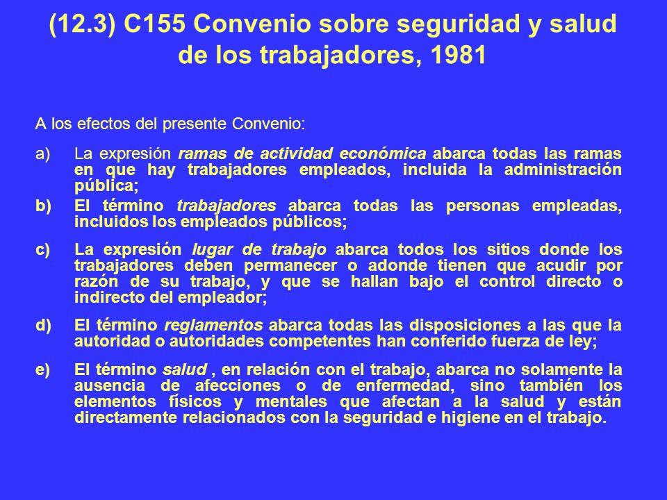 (12.3) C155 Convenio sobre seguridad y salud de los trabajadores, 1981 A los efectos del presente Convenio: a)La expresión ramas de actividad económic